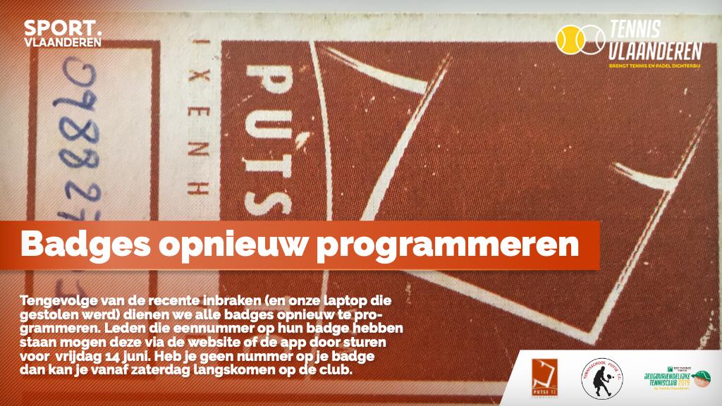 OPGELET: Badges herprogrammeren