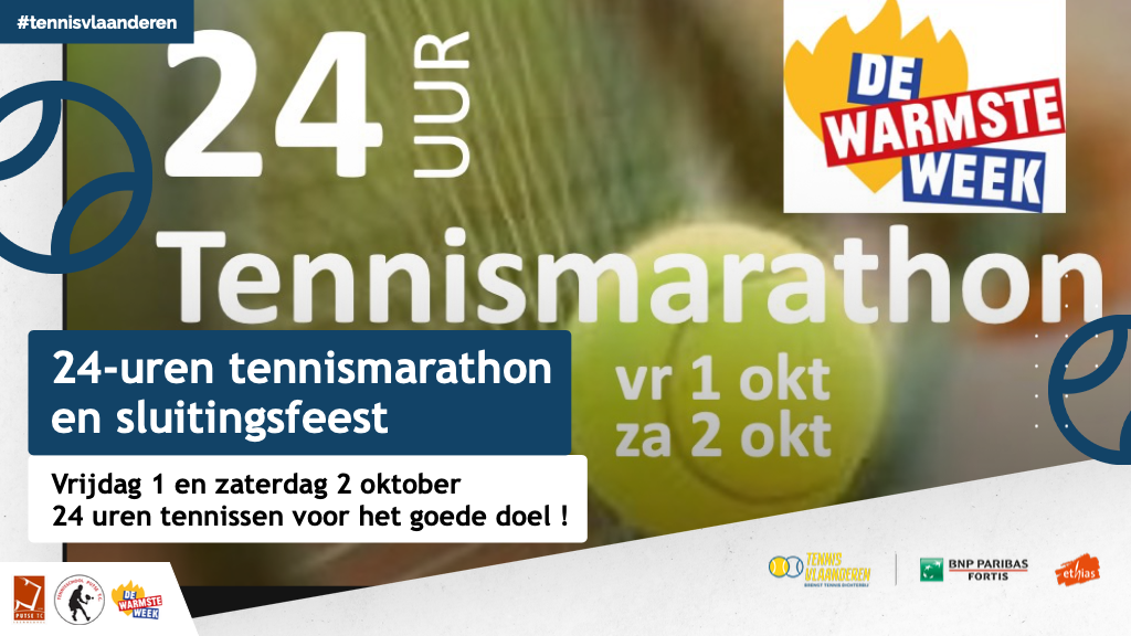 24-uren tennismarathon: 1 en 2 oktober